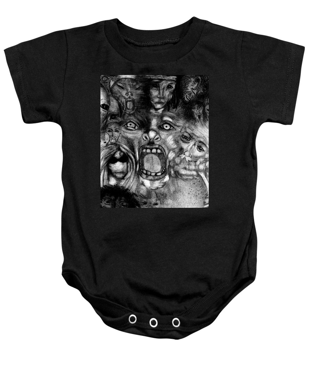 Chaos Baby Onesie featuring the drawing Kaos Theory by Michelle Audas