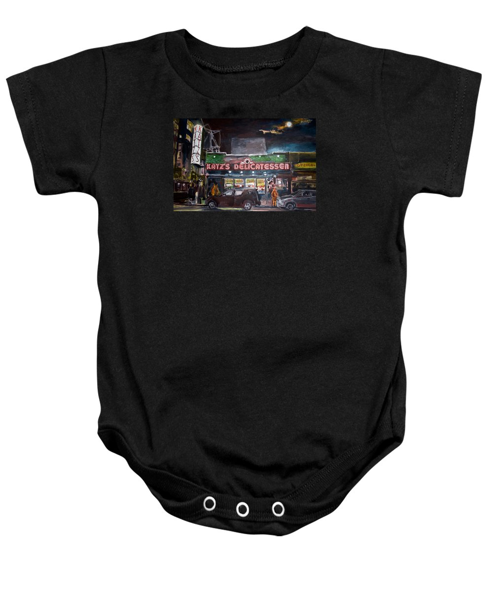 New York City Paintings Baby Onesie featuring the painting Katz Deli by Wayne Pearce