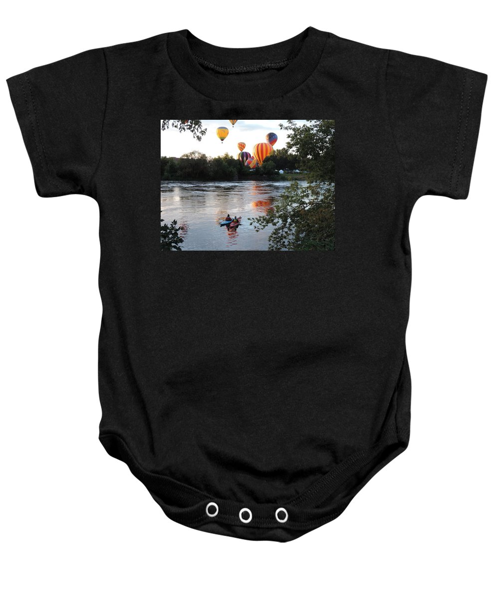 Two Paddlers Baby Onesie featuring the photograph Kayaks And Balloons by Bill Tomsa