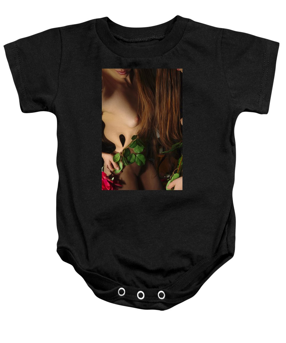 Female Nude Abstract Mirrors Flowers Baby Onesie featuring the photograph Kazi0819 by Henry Butz