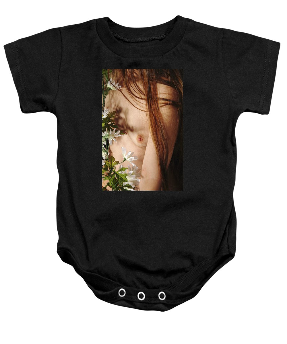 Female Nude Abstract Mirrors Flowers Baby Onesie featuring the photograph Kazi1141 by Henry Butz