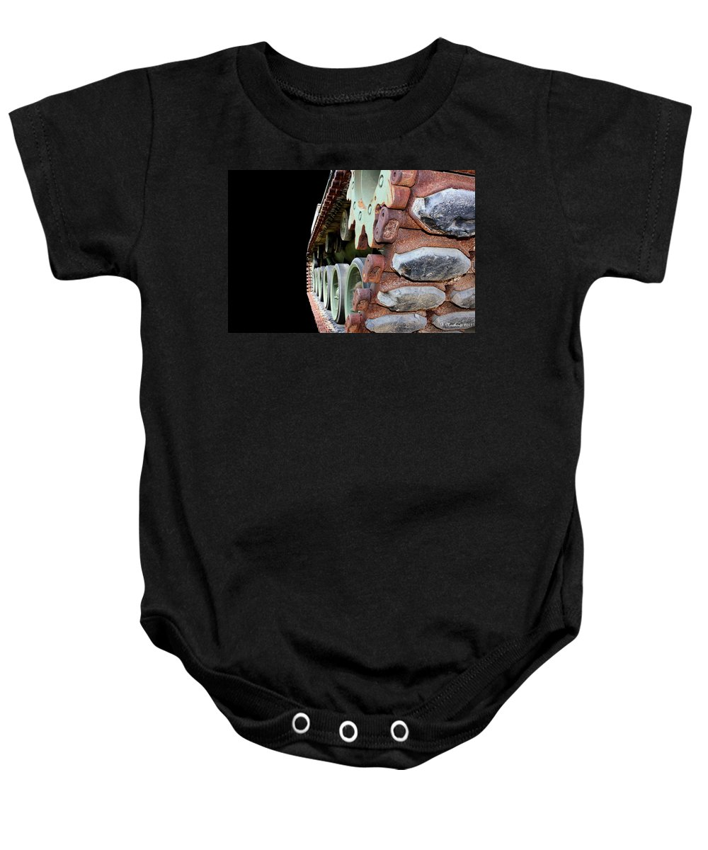Tank Baby Onesie featuring the photograph Keep 'em Rolling by Betty Northcutt