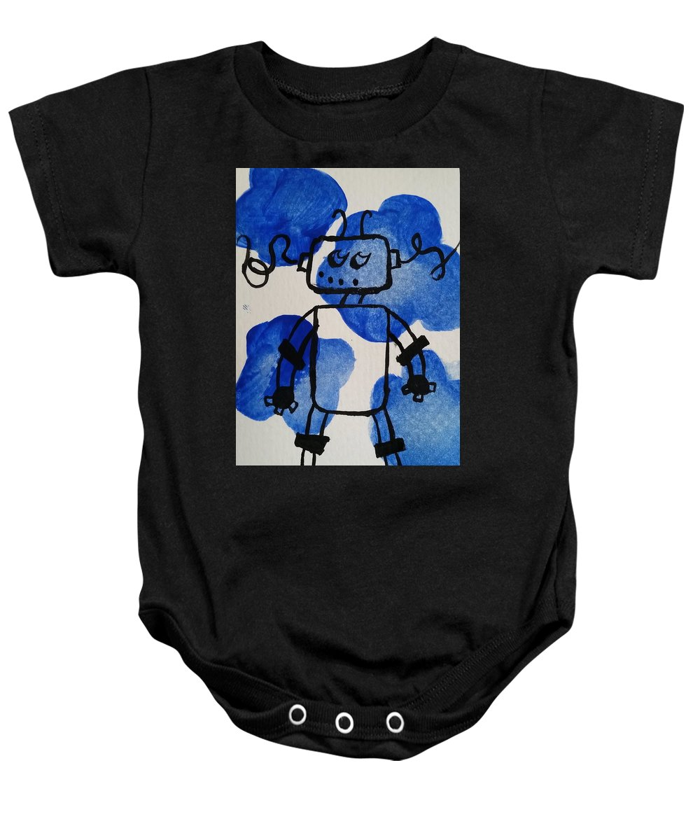 Blue Baby Onesie featuring the painting Keep Your Head Out Of The Sky by Kelly Brimberry