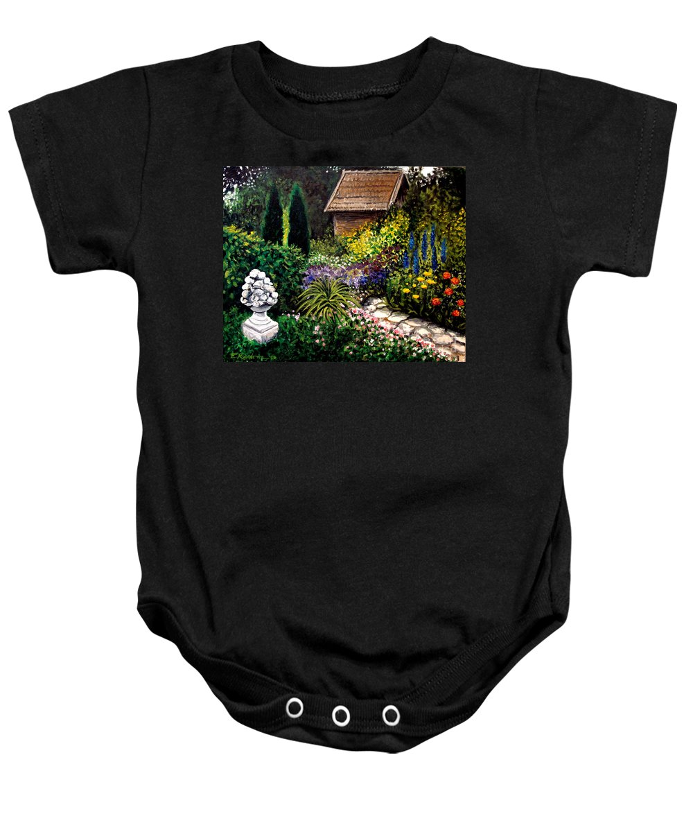 Landscape Baby Onesie featuring the painting Keeper Of The Garden by Elizabeth Robinette Tyndall
