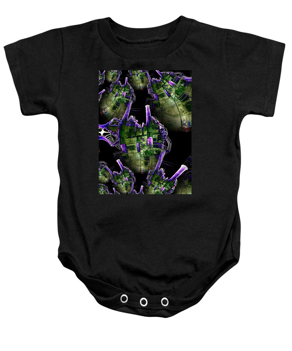 Seattle Baby Onesie featuring the digital art Keepers Of The Gasworks by Tim Allen