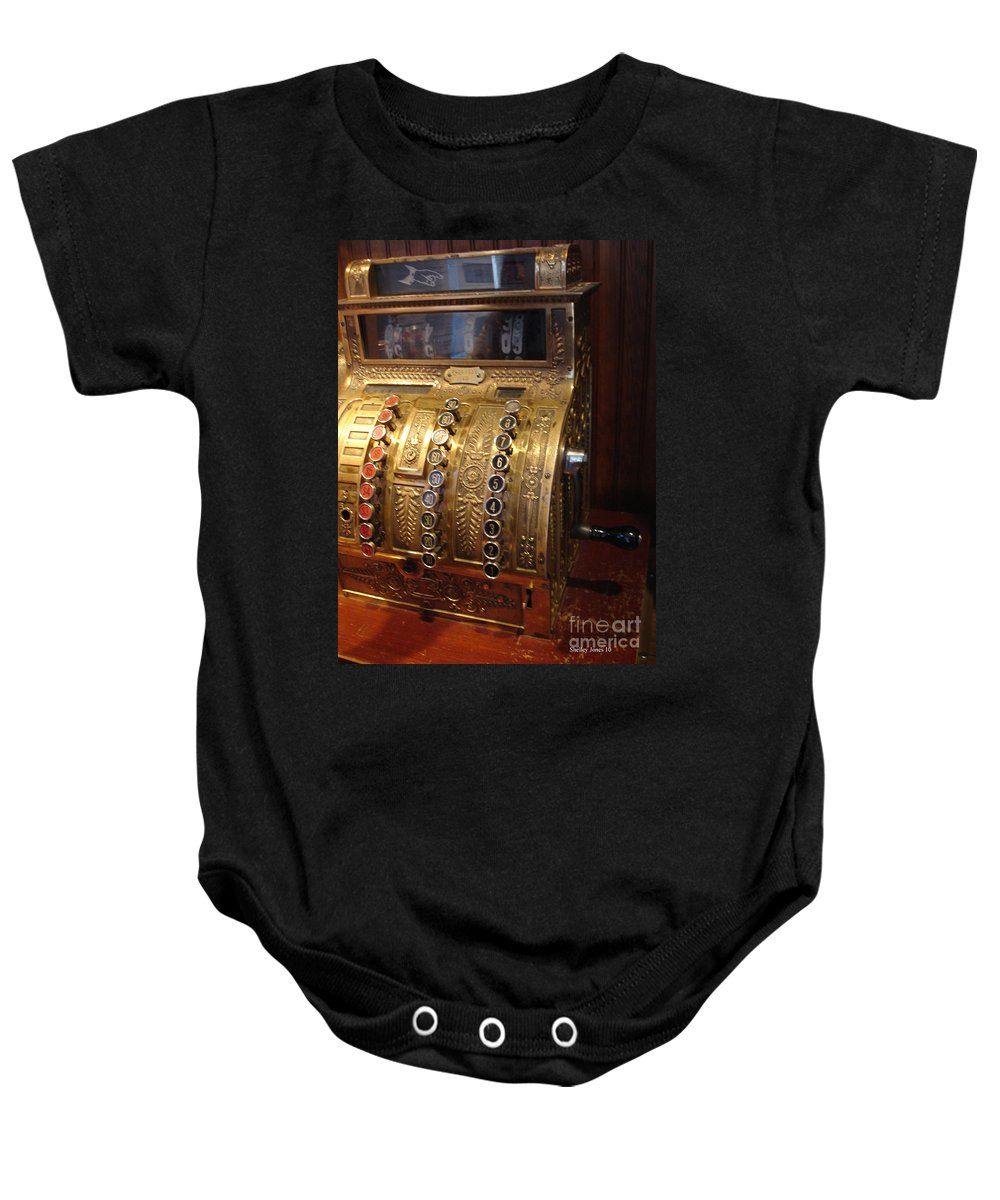 Cash Register Baby Onesie featuring the photograph Keys Of Time 2 by Shelley Jones