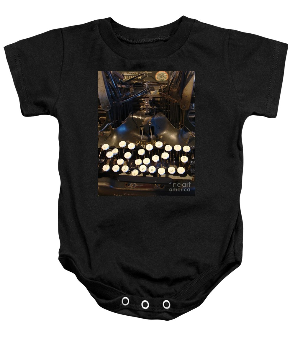 Typewriter Baby Onesie featuring the photograph Keys Of Time by Shelley Jones