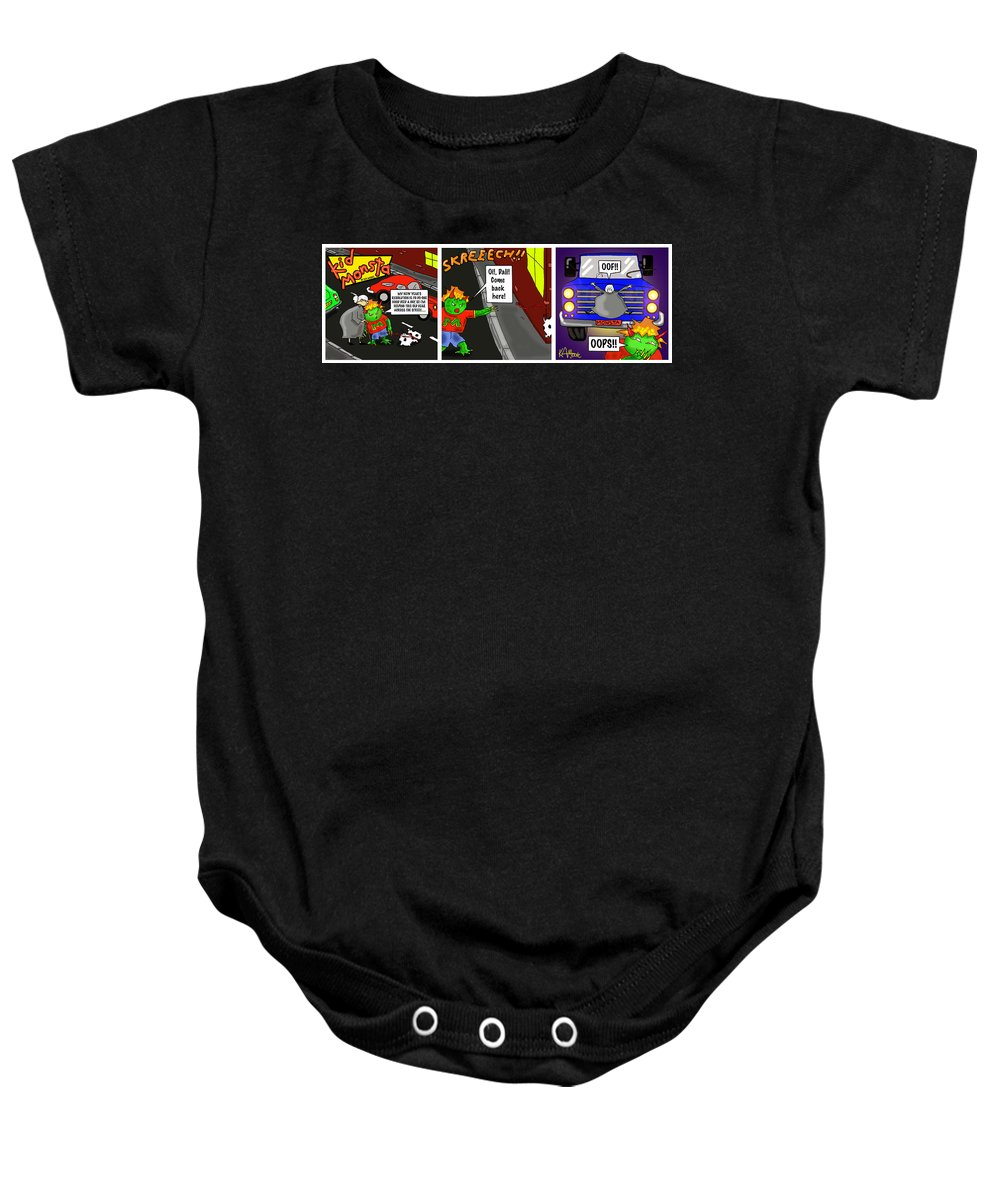 Kid Monsta Baby Onesie featuring the drawing Kid Monsta Triptych 2 by Kev Moore