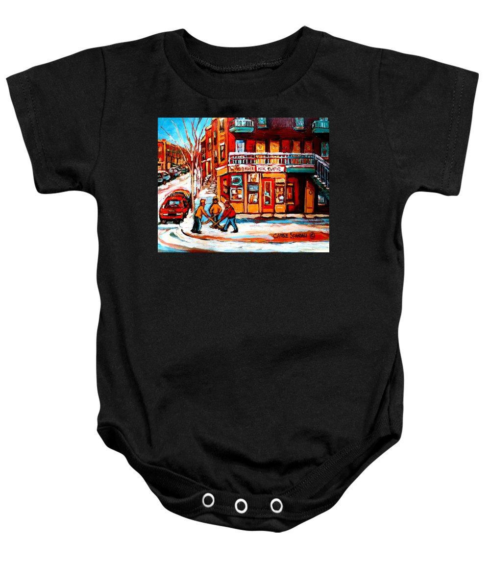 Montreal Streetscene Baby Onesie featuring the painting Kik Cola Depanneur by Carole Spandau
