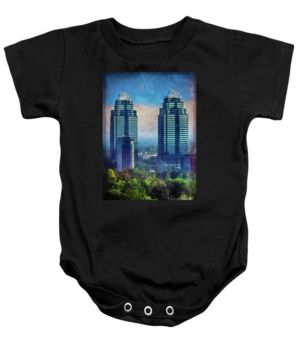 Atlanta Baby Onesie featuring the photograph King And Queen Buildings by Doug Sturgess