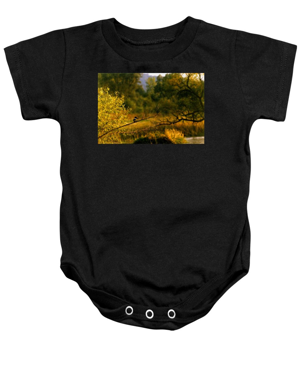 Landscape Baby Onesie featuring the photograph King Fisher by Steve Karol
