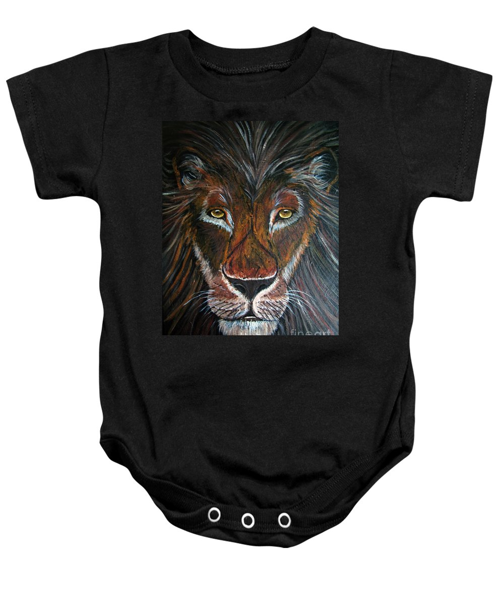 Lion Baby Onesie featuring the painting King by Nick Gustafson