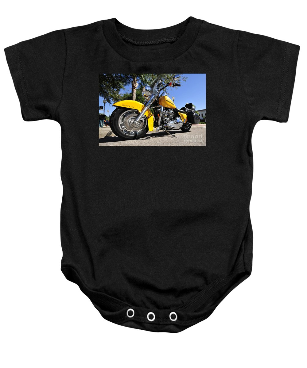 Harley Davidson Baby Onesie featuring the photograph King Of The Road by David Lee Thompson