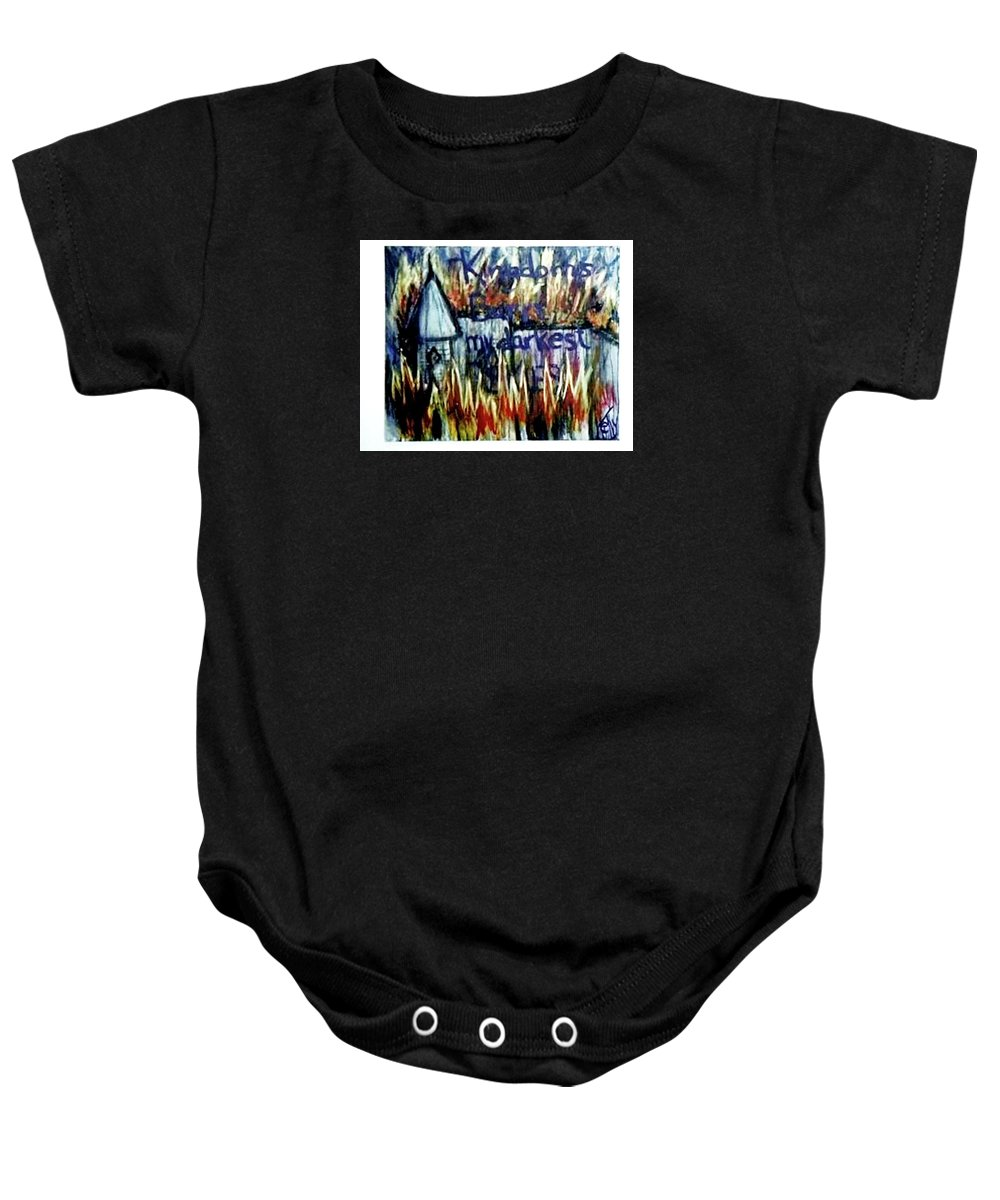 Castle Baby Onesie featuring the painting Kingdoms Burn by T Byron K