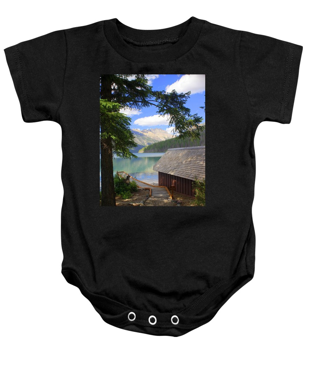Glacier National Park Baby Onesie featuring the photograph Kintla Lake Ranger Station Glacier National Park by Marty Koch
