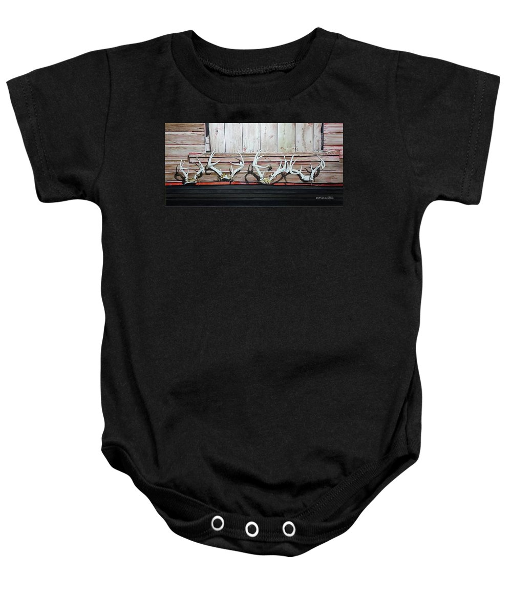 Western Baby Onesie featuring the painting Kinzli Barn by Patrick Griffin