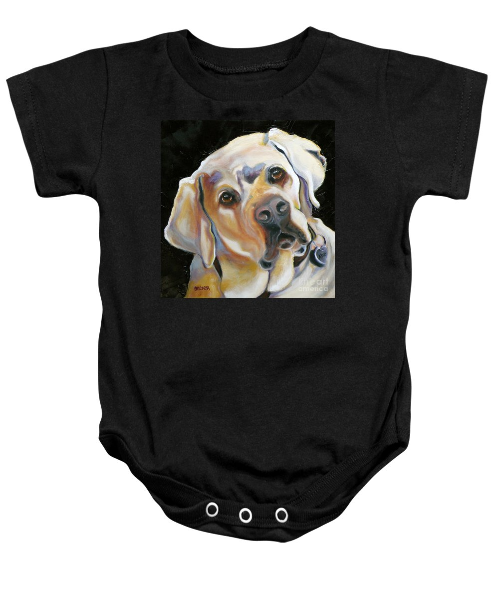 Yellow Lab Paintings Baby Onesie featuring the painting Kissably Close Lab by Susan A Becker