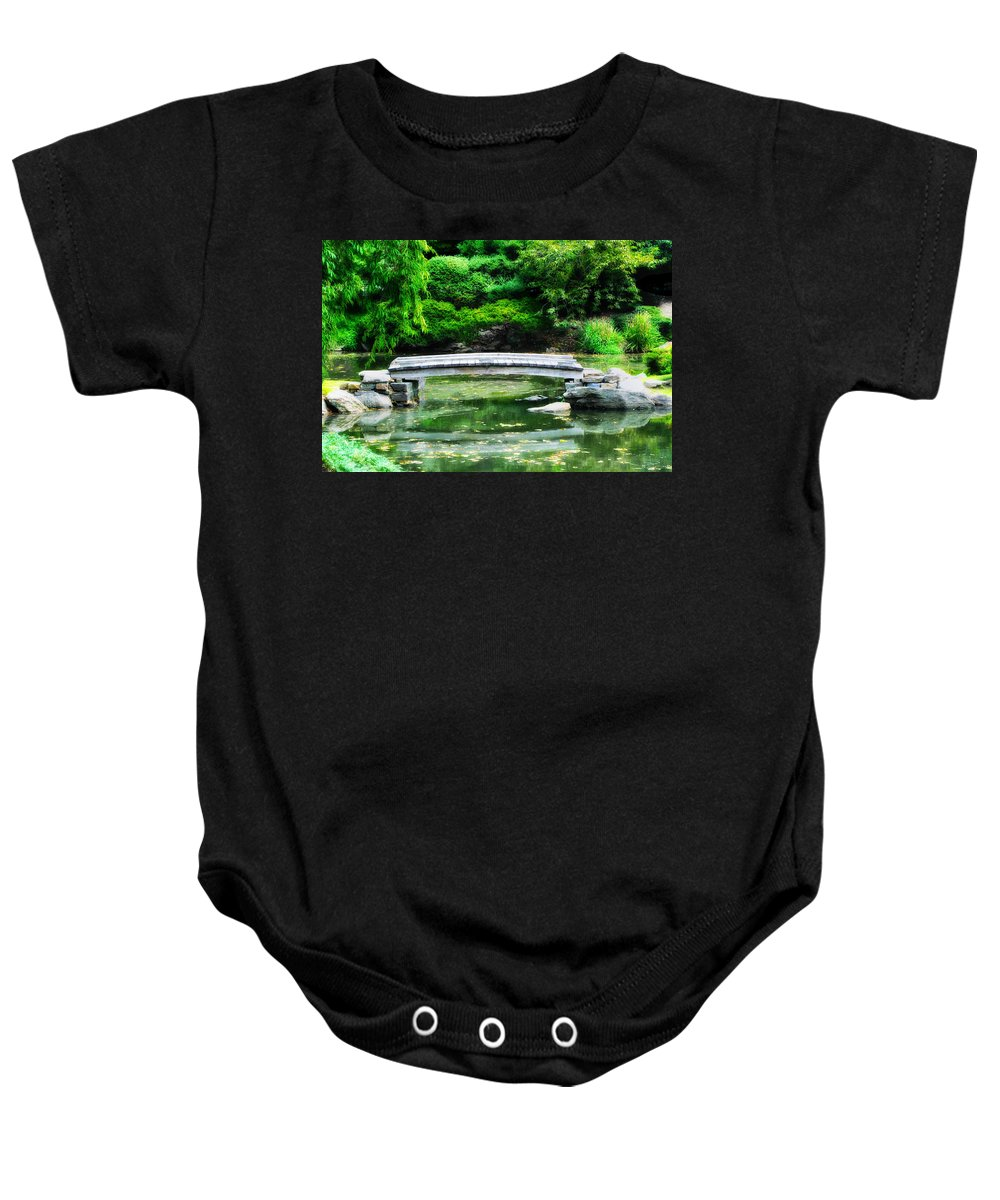 Koi Pond Baby Onesie featuring the photograph Koi Pond Bridge - Japanese Garden by Bill Cannon