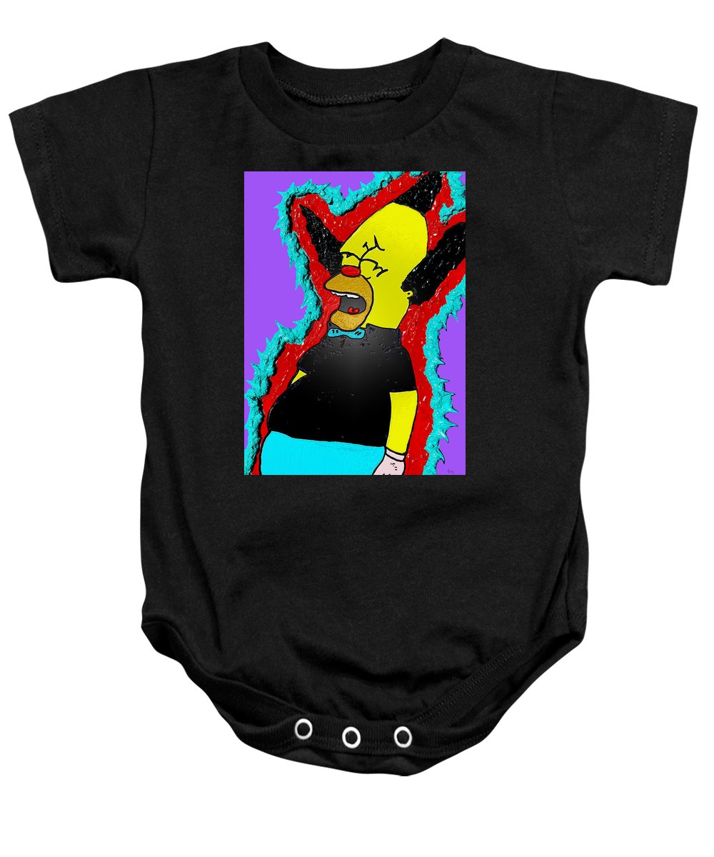 Comic Art Baby Onesie featuring the drawing Krusty The Clown Found Dead by Robert Margetts