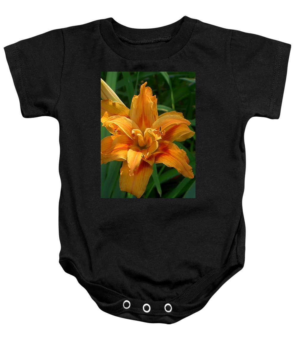 Daylily Baby Onesie featuring the photograph Kwanzaa Lily by Carolyn Jacob