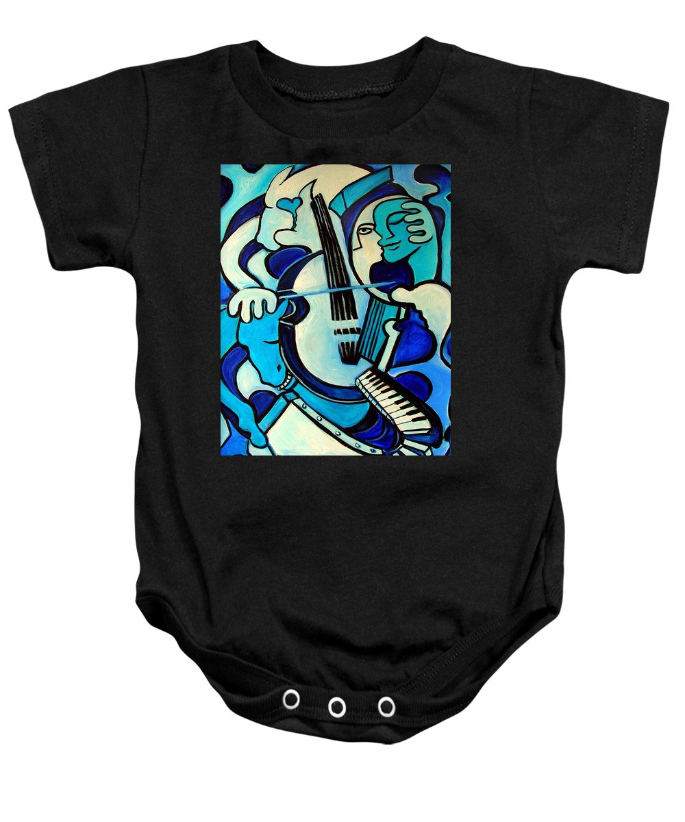 Abstract Baby Onesie featuring the painting L Amour Ou Quoi by Valerie Vescovi