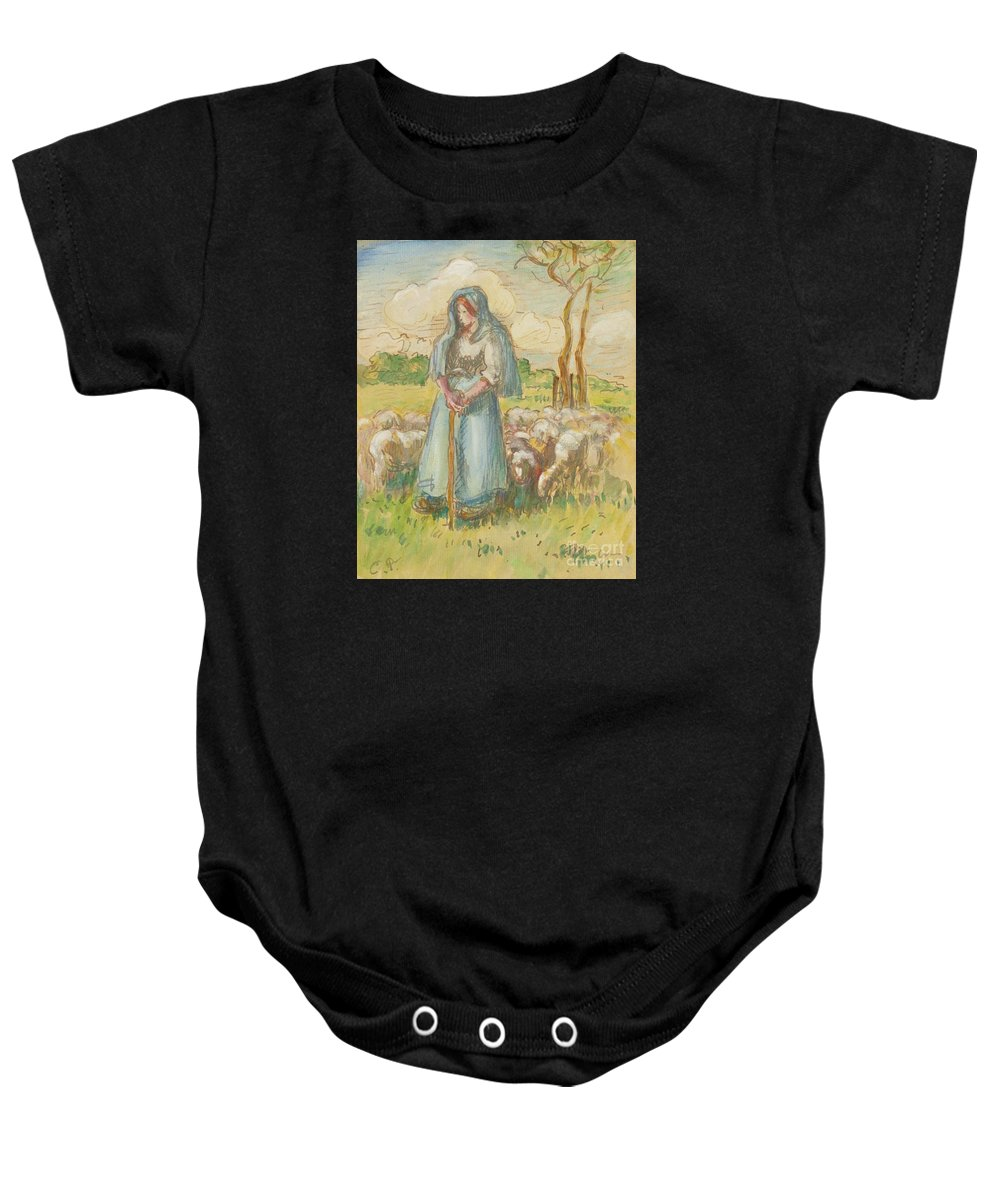 Camille Pissarro - La Berg�re. Woman Baby Onesie featuring the painting La Bergre by MotionAge Designs