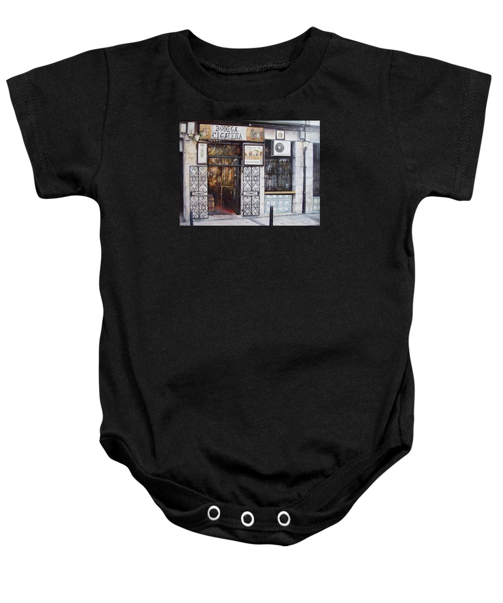 Bodega Baby Onesie featuring the painting La Cigalena Old Restaurant by Tomas Castano