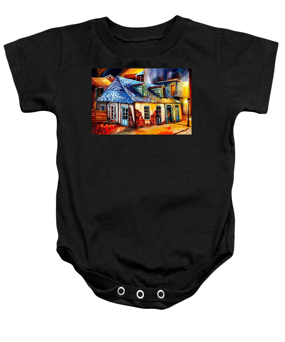 New Orleans Baby Onesie featuring the painting La Fittes Blacksmith Shop by Diane Millsap