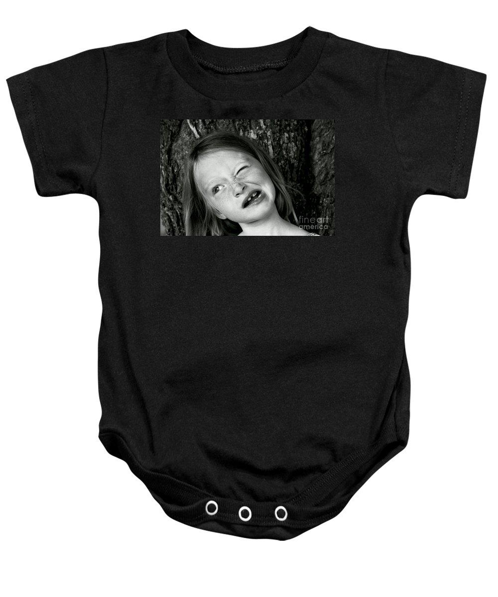 Portrait Baby Onesie featuring the photograph La Grimace by Aimelle