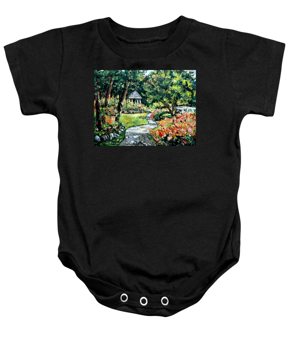 Landscape Baby Onesie featuring the painting La Paloma Gardens by Ingrid Dohm