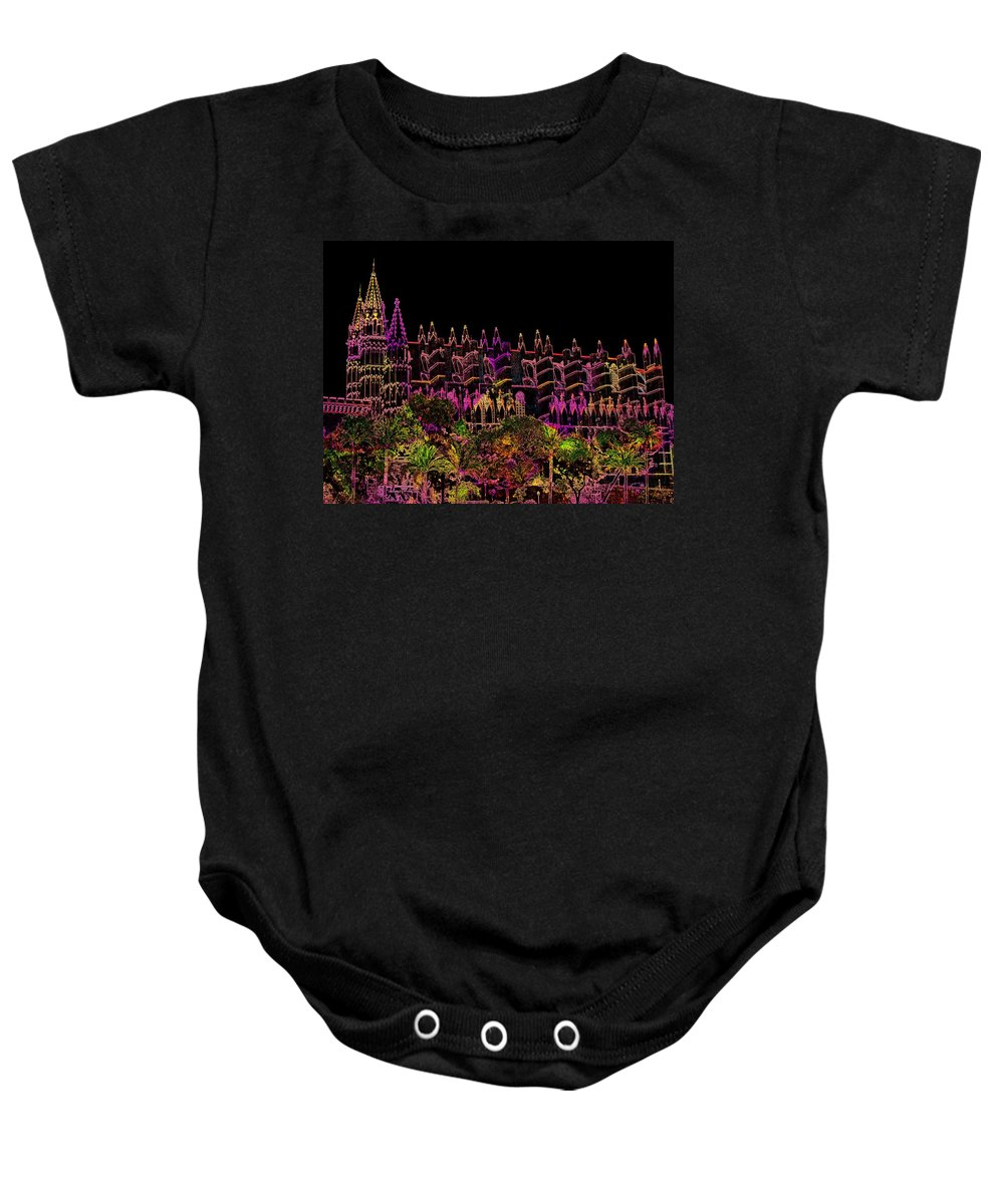 La Seu Baby Onesie featuring the digital art La Seu The Cathedral Of Palma by Helmut Rottler