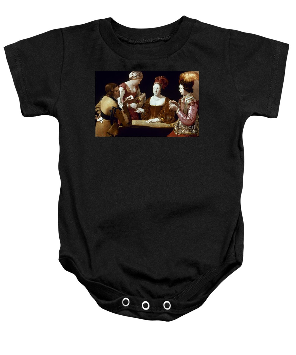 Card Game Baby Onesie featuring the photograph La Tour: The Cheat, C1625 by Granger