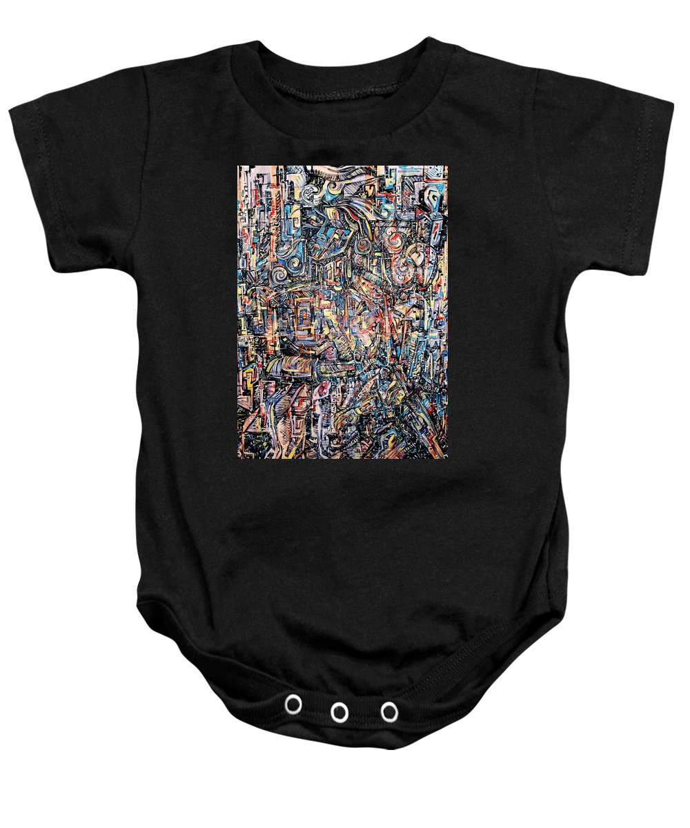 Surrealism Baby Onesie featuring the painting Labyrinth Of Sorrows by Darwin Leon