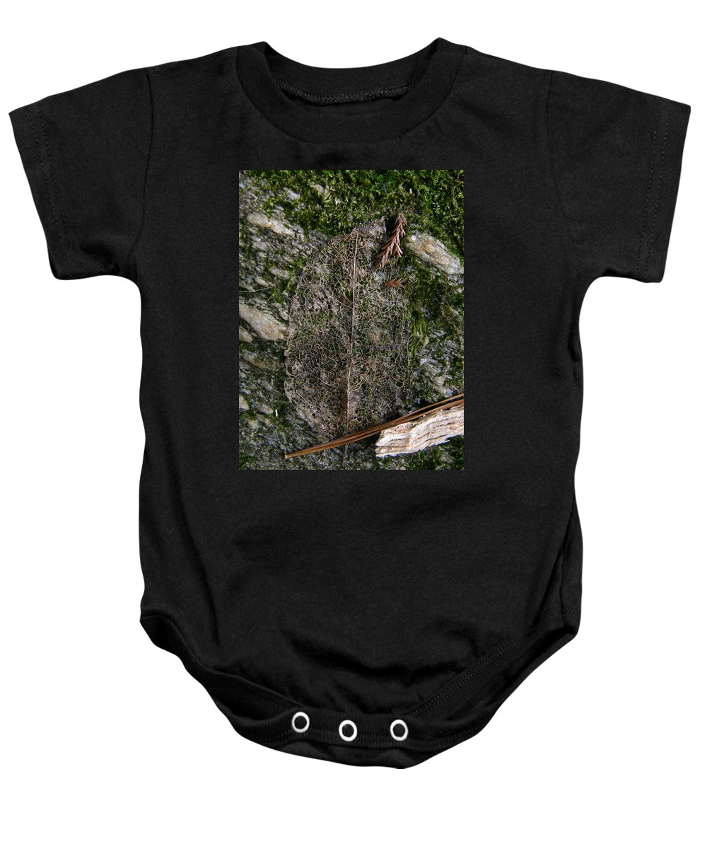 Leaf Baby Onesie featuring the photograph Lacey Leaf by Kimberly Mohlenhoff
