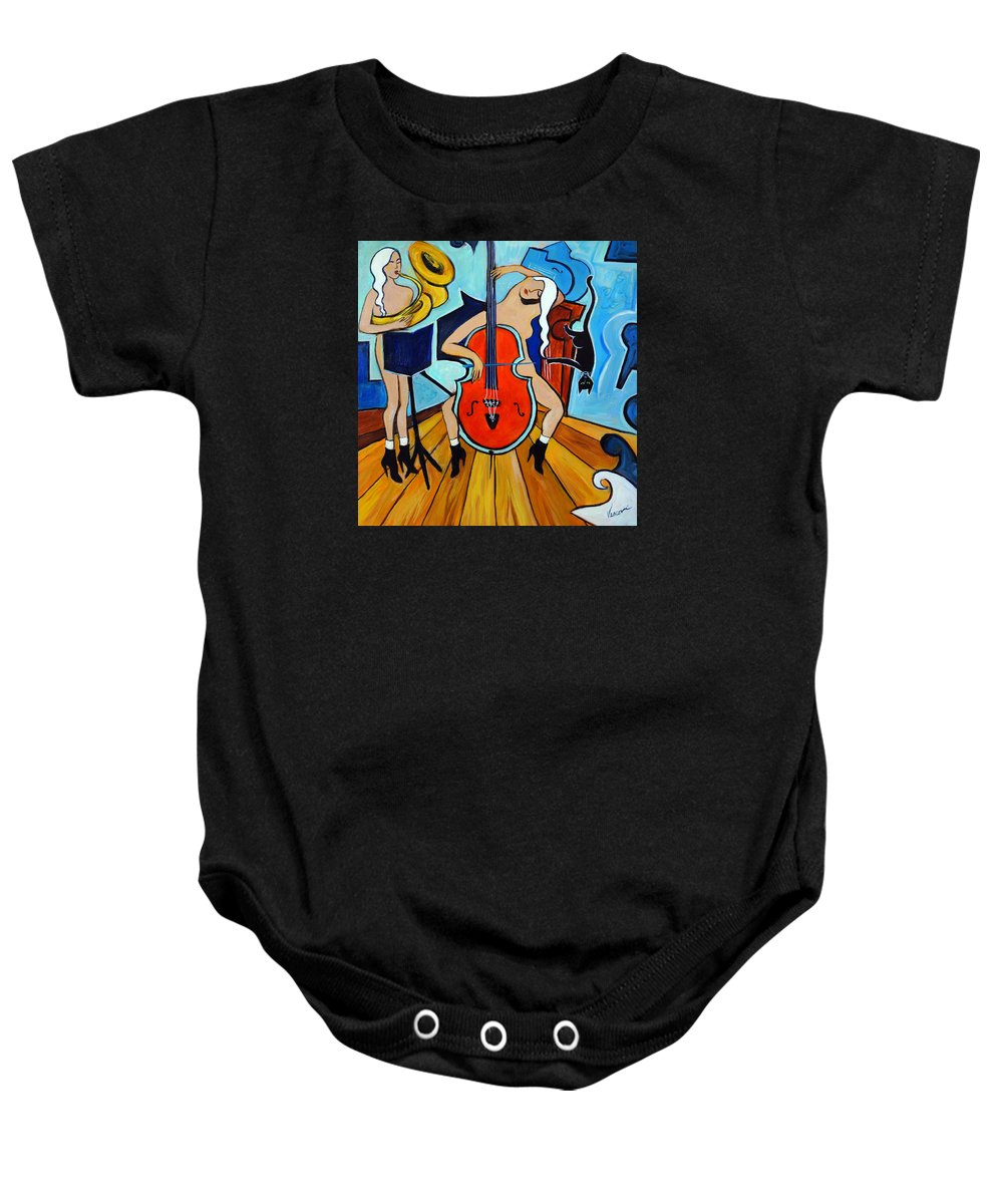 Musicians Baby Onesie featuring the painting Lady In Red by Valerie Vescovi