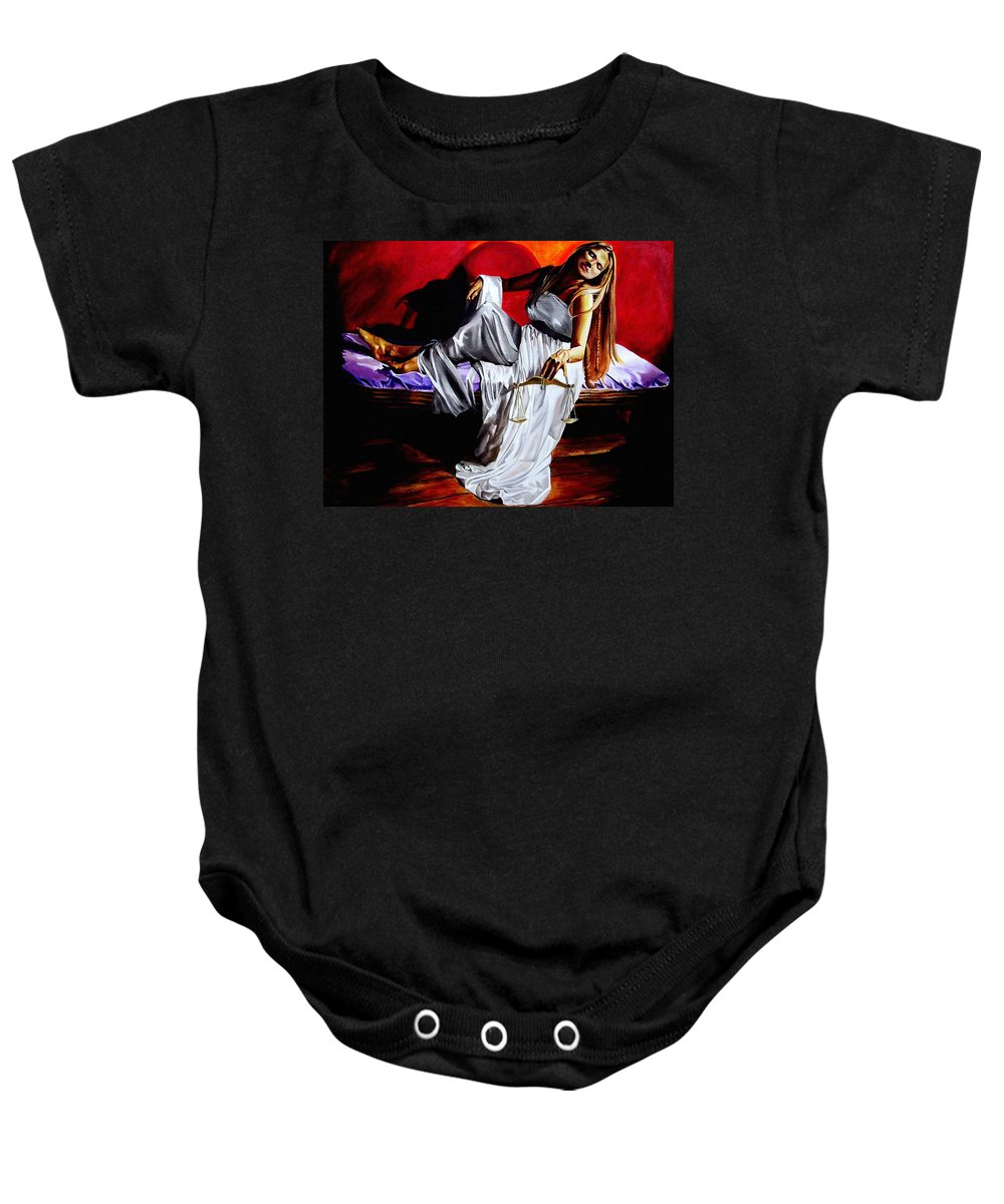 Law Art Baby Onesie featuring the painting Lady Justice by Laura Pierre-Louis