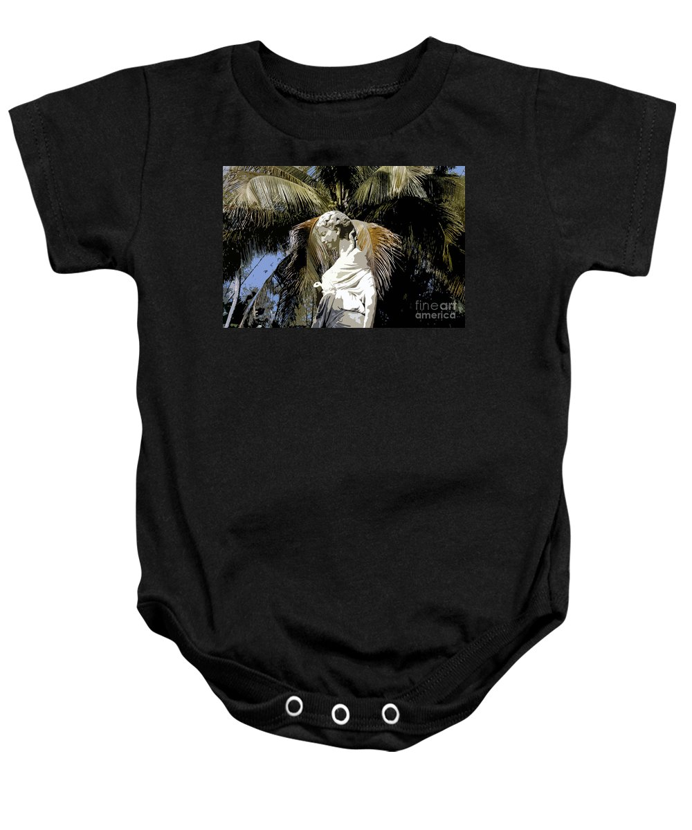 Statue Baby Onesie featuring the painting Lady Of The Palms by David Lee Thompson
