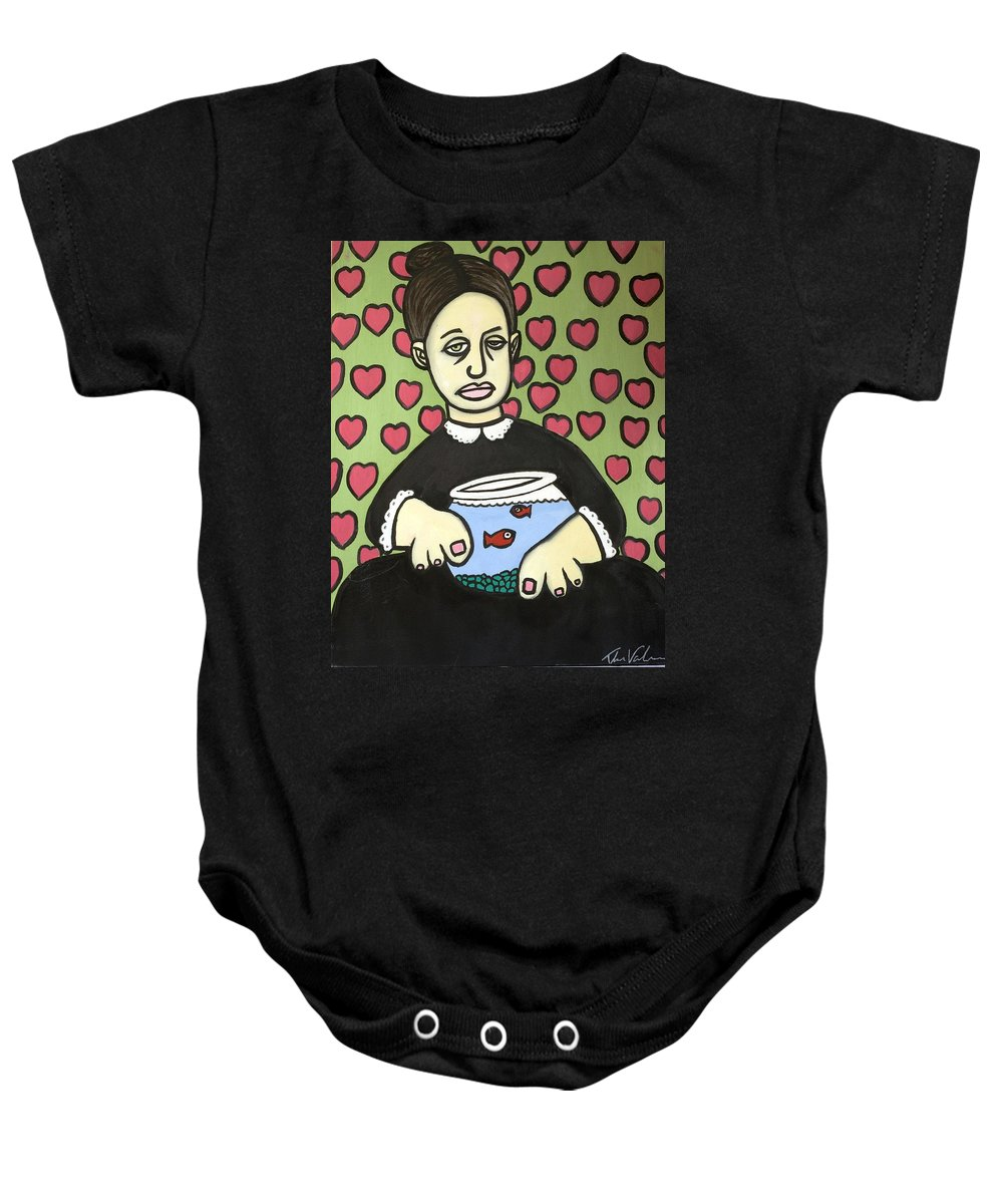 Baby Onesie featuring the painting Lady With Fish Bowl by Thomas Valentine