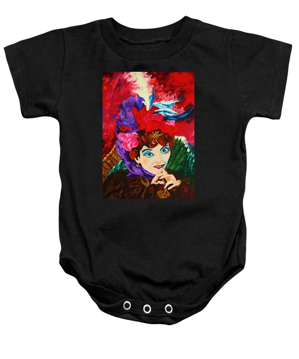 Red Hats Baby Onesie featuring the painting Lady With The Red Hat by Carole Spandau