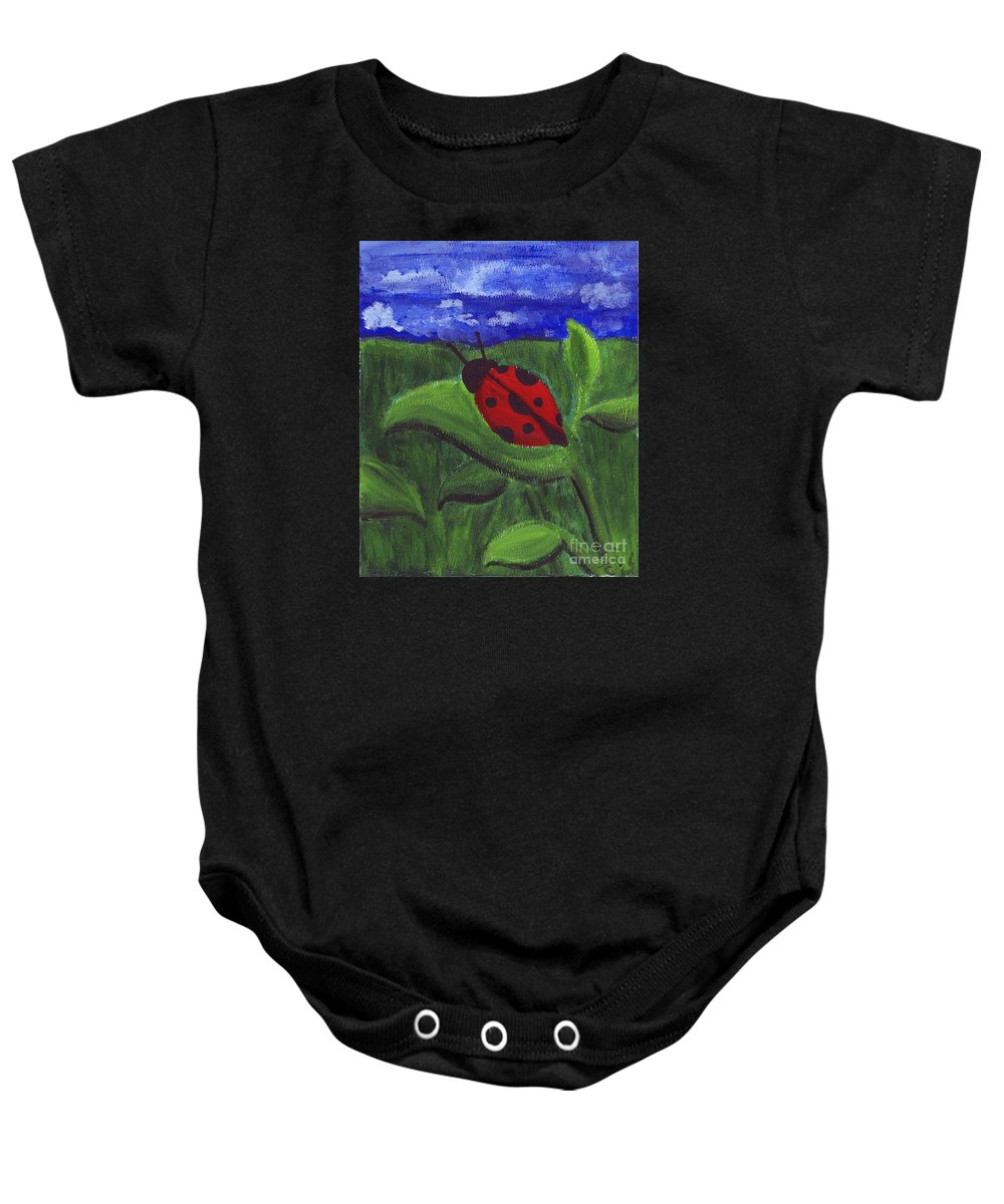 Ladybug Baby Onesie featuring the painting Ladybug by Cassandra Geernaert