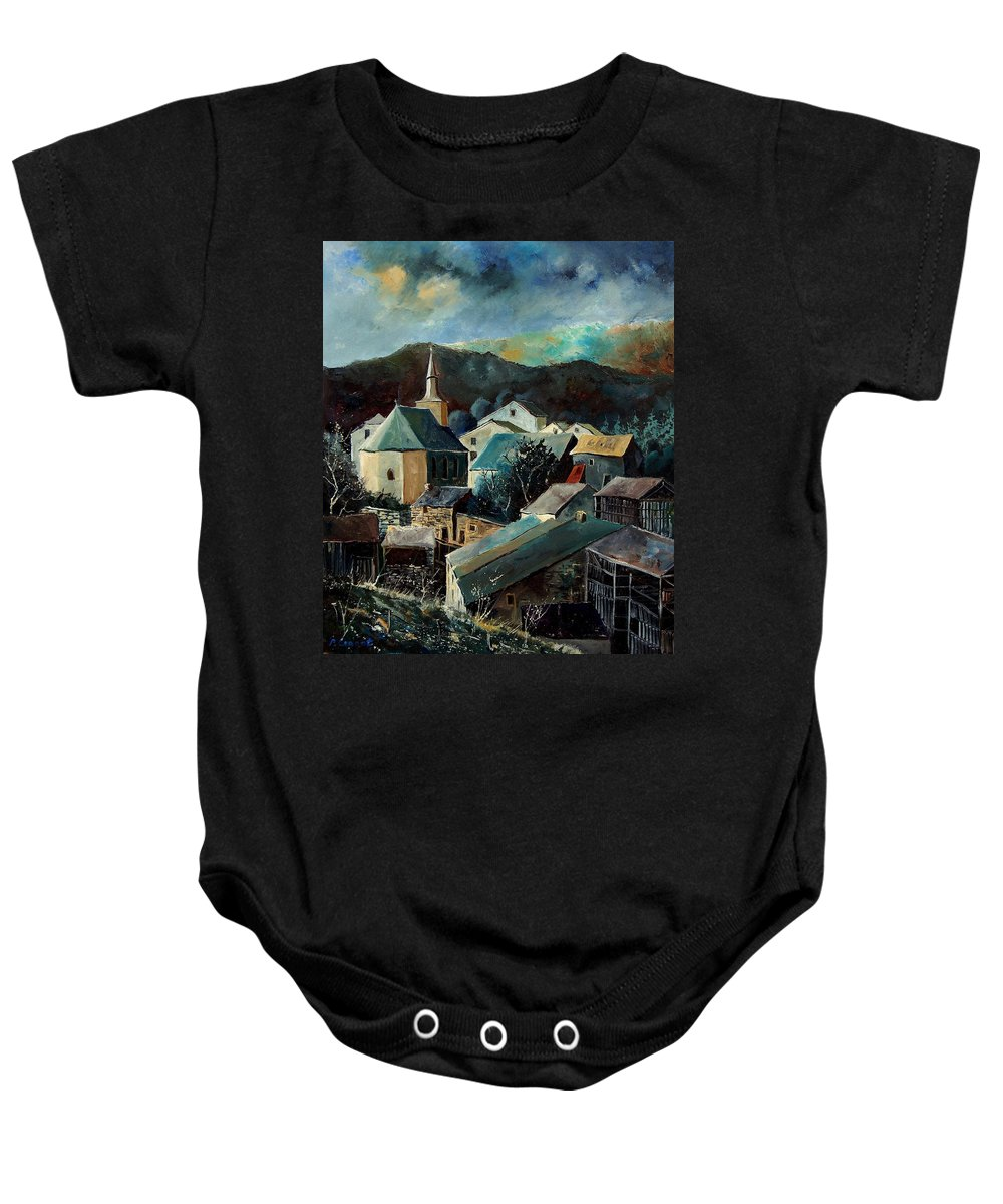 Landscape Baby Onesie featuring the painting Laforet Village by Pol Ledent