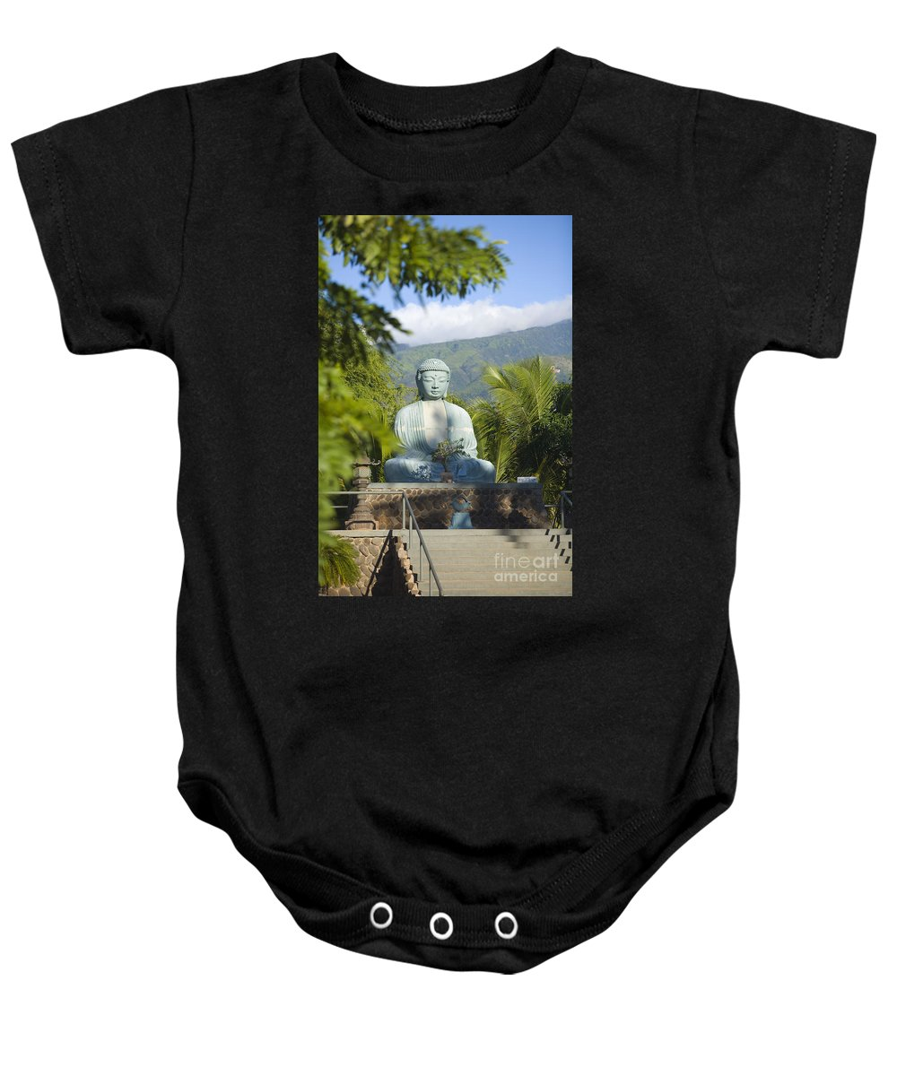 Afternoon Baby Onesie featuring the photograph Lahaina Buddha At Jodo by Ron Dahlquist - Printscapes