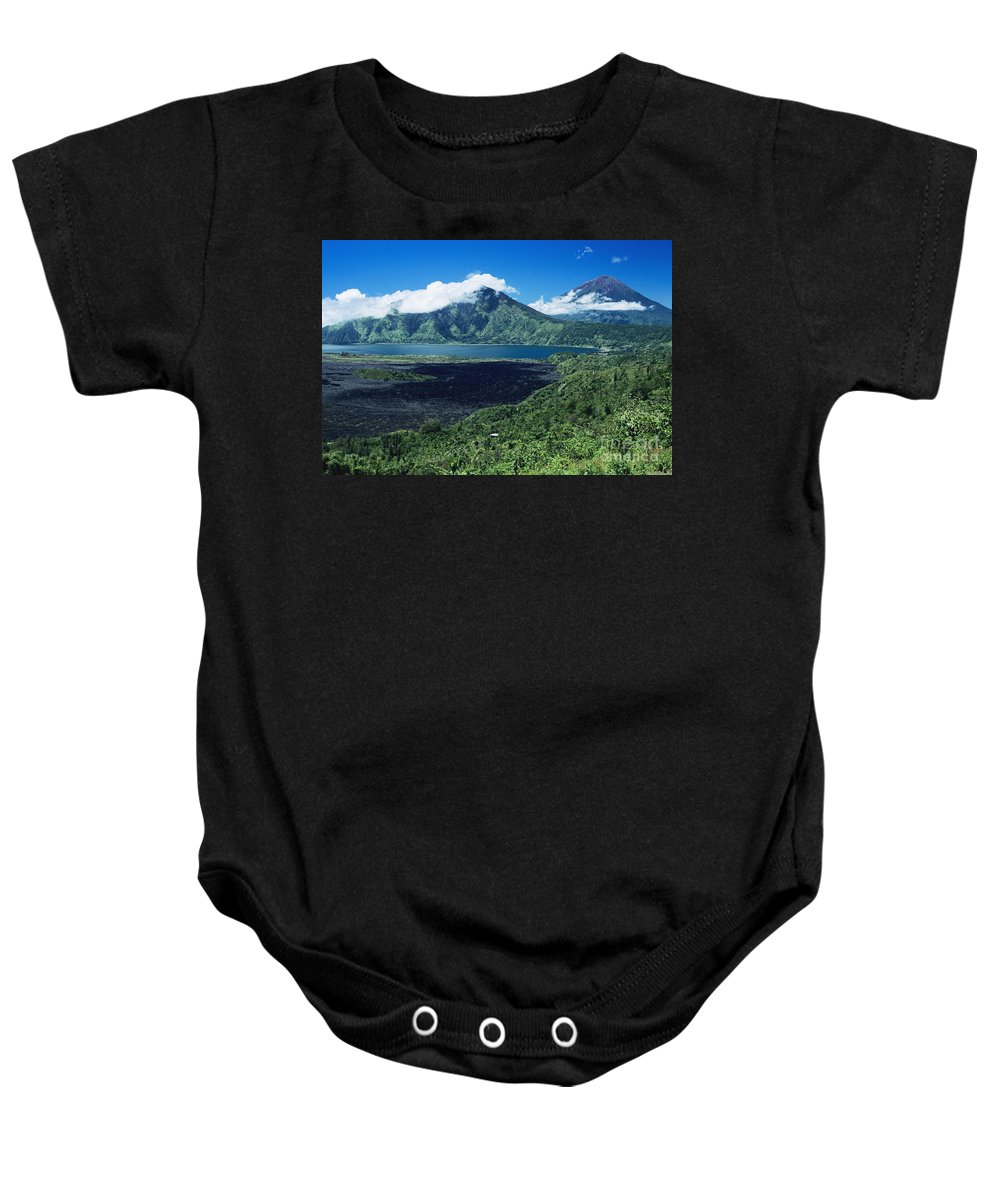 Afternoon Baby Onesie featuring the photograph Lake Batur by Kyle Rothenborg - Printscapes