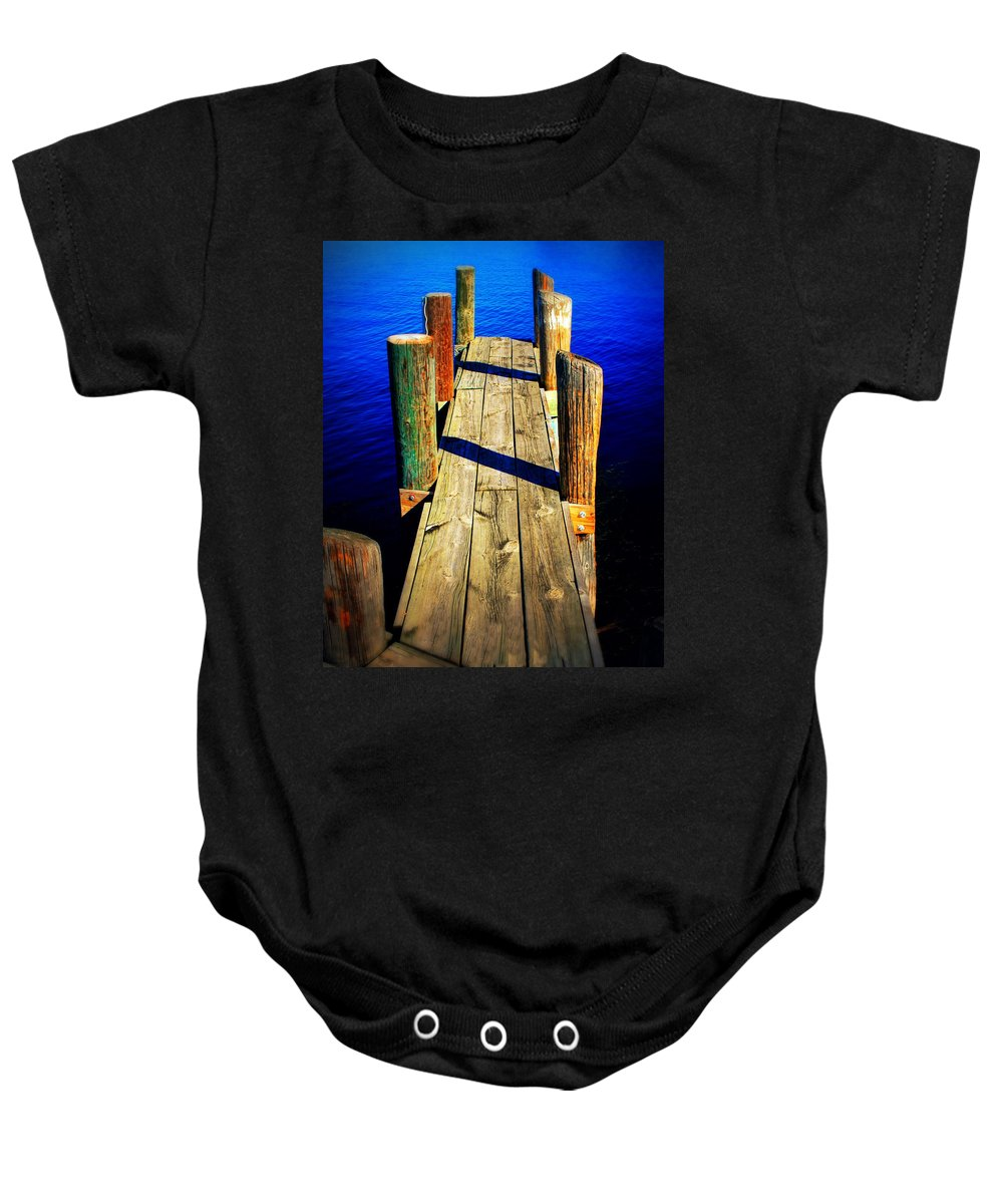 Dock Baby Onesie featuring the photograph Lake Dock by Perry Webster