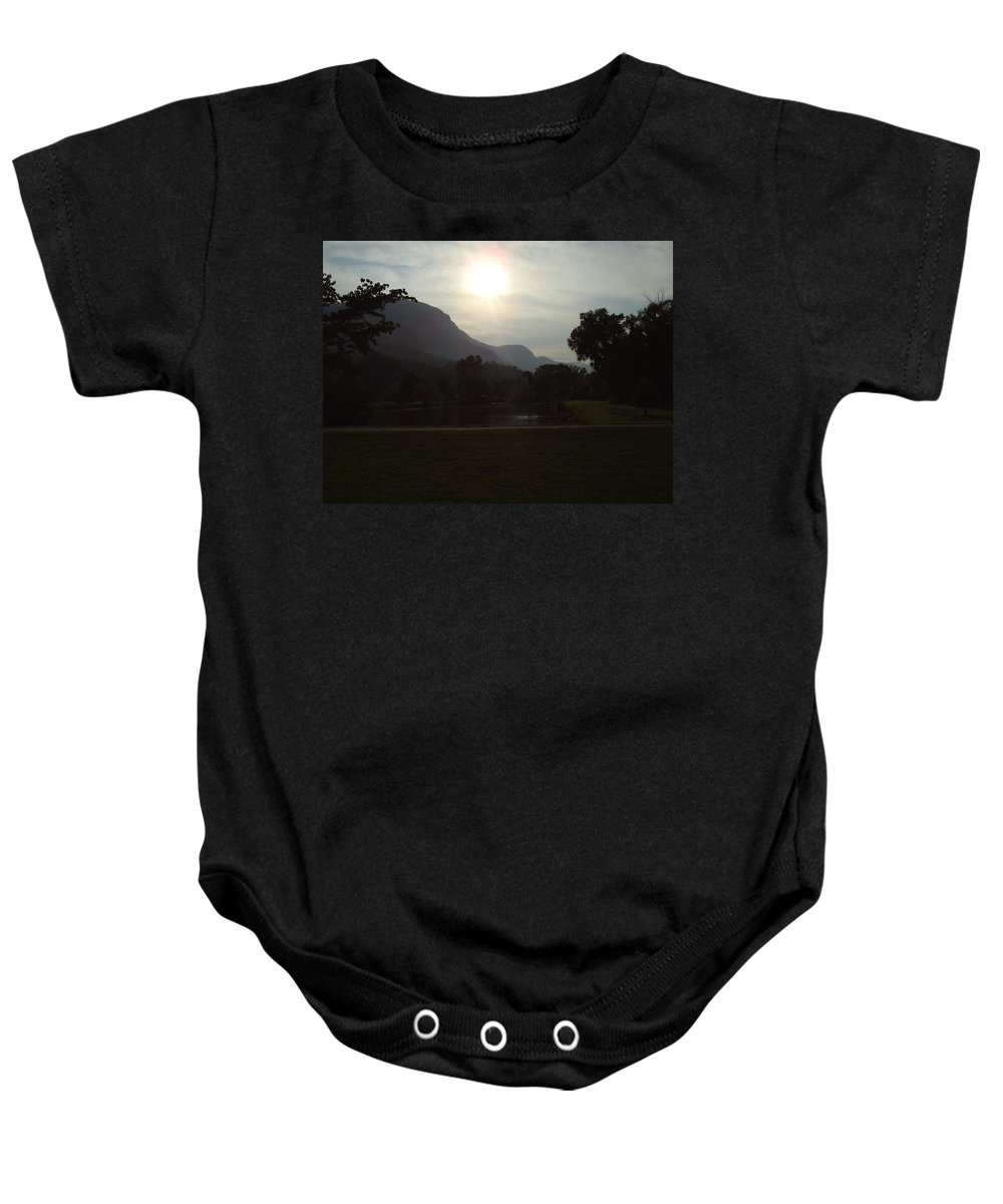Lake Lure Baby Onesie featuring the photograph Lake Lure by Flavia Westerwelle