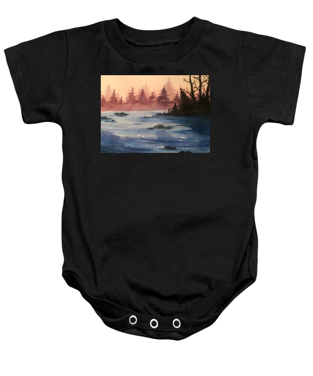 Lake Baby Onesie featuring the painting Lake by Maiia Maiorova