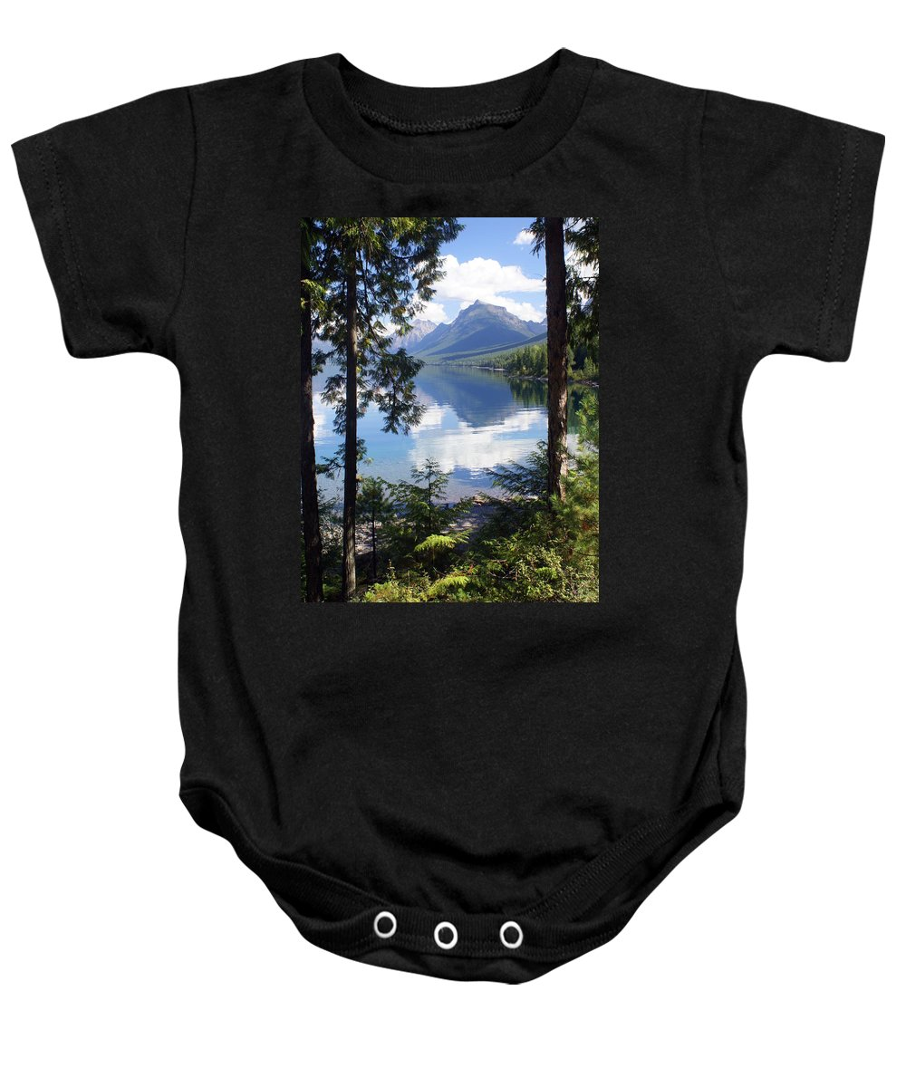 Glacier National Park Baby Onesie featuring the photograph Lake Mcdlonald Through The Trees Glacier National Park by Marty Koch
