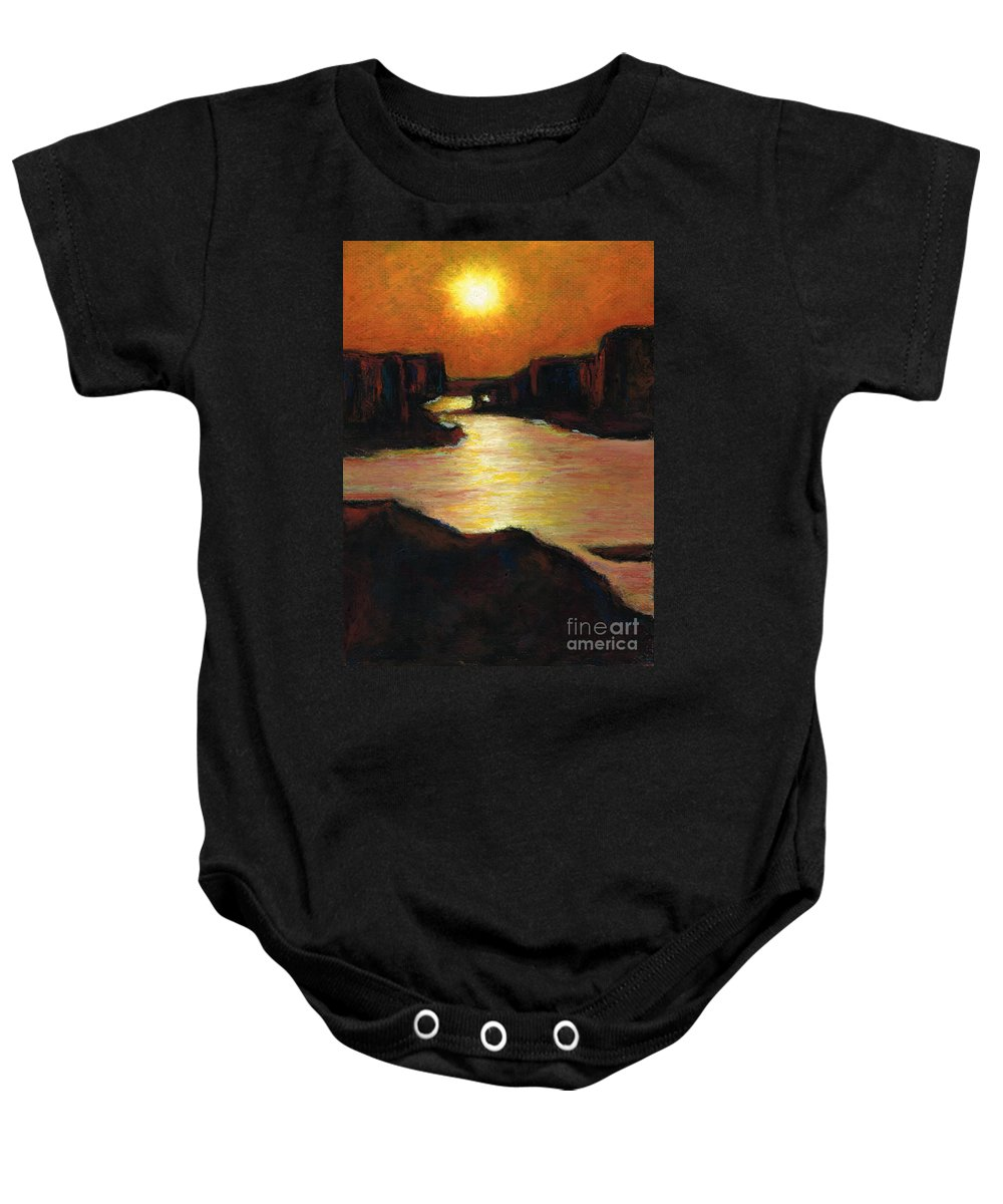 Lake Powell Baby Onesie featuring the painting Lake Powell At Sunset by Frances Marino
