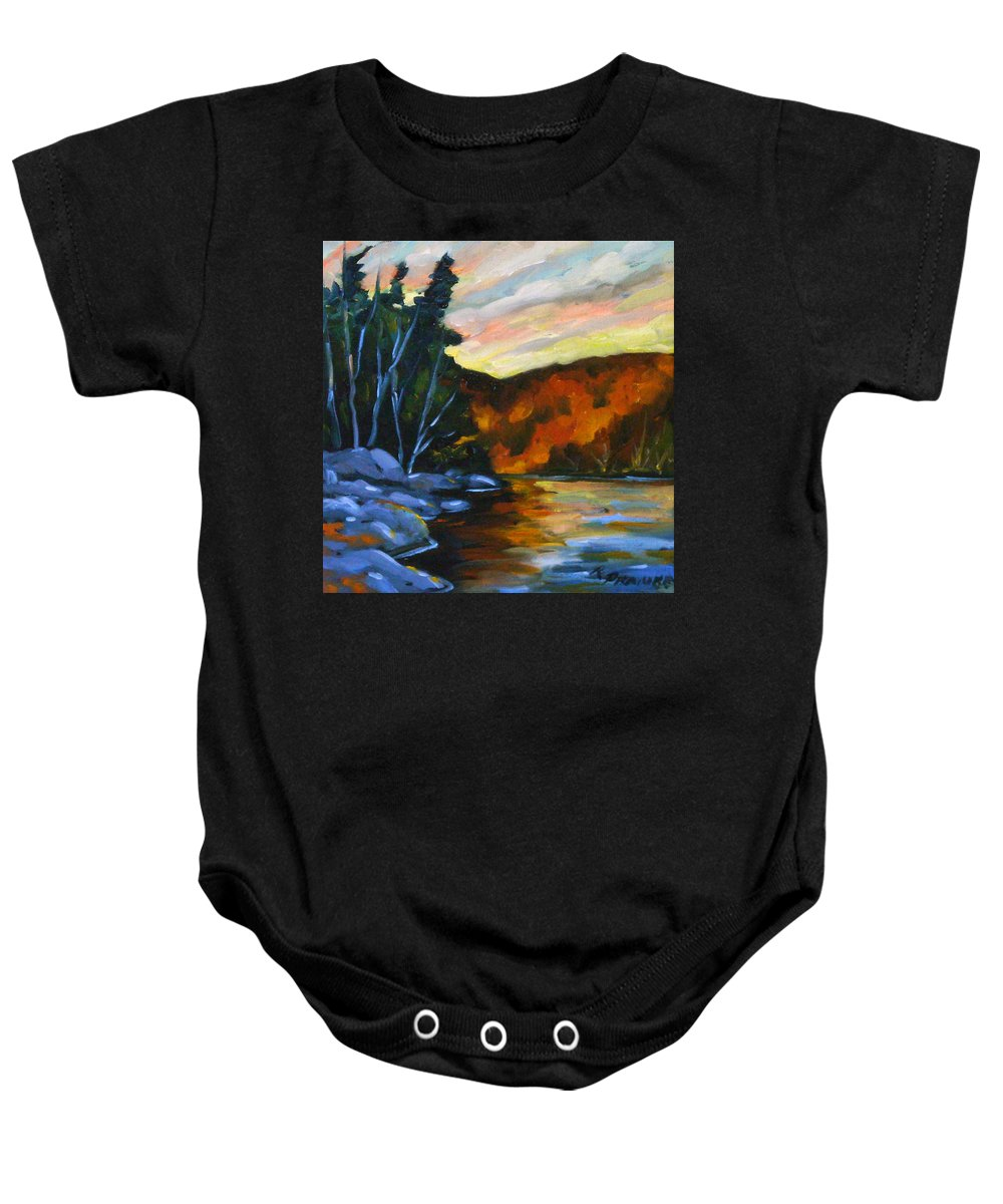 Art Baby Onesie featuring the painting Lake Reflections by Richard T Pranke