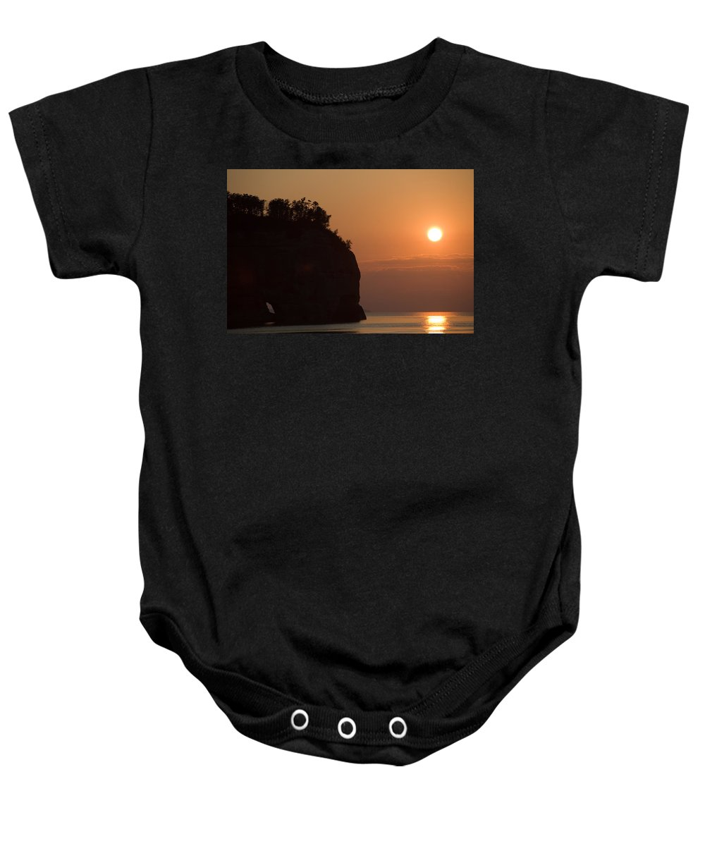 Lake Baby Onesie featuring the photograph Lake Superior Sunset by Sebastian Musial